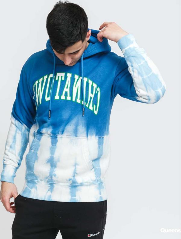 Chinatown Market Reverse Arc Tie-Dye Hoodie modrá / bílá