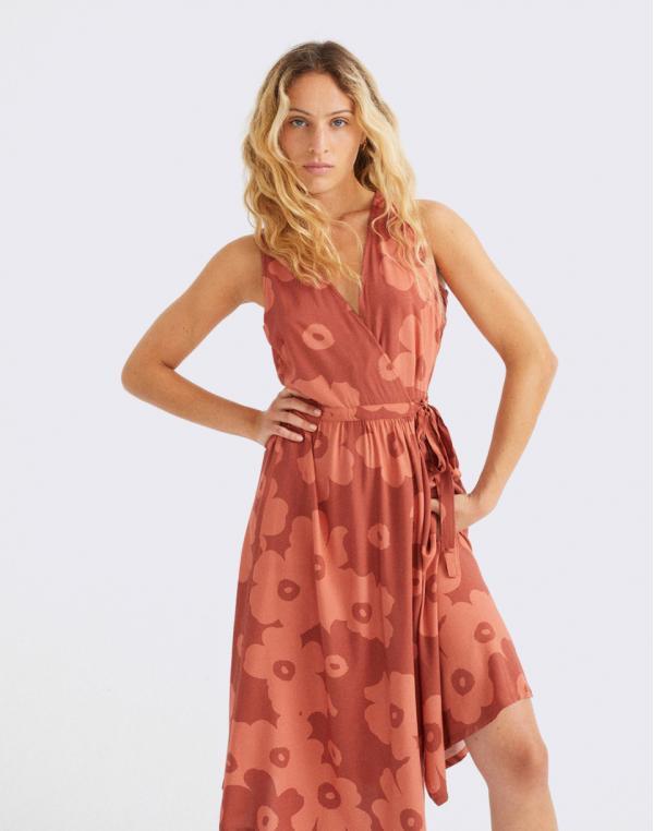 Thinking MU Big Flowers Teja Amapola Dress RASPBERRY XS