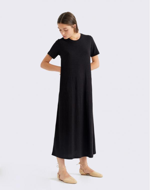 Thinking MU Black Hemp Oueme Dress BLACK M