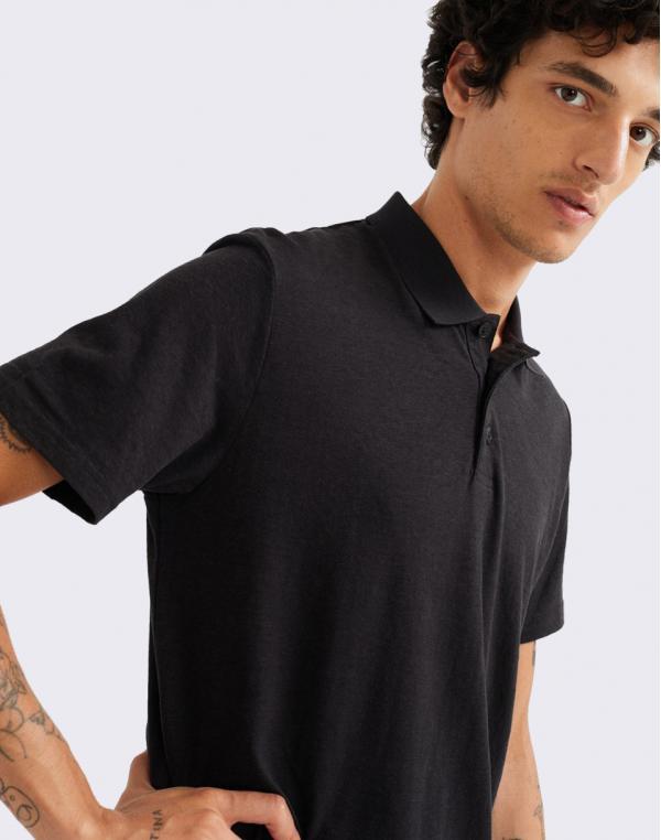 Thinking MU Black Hemp Polo BLACK S