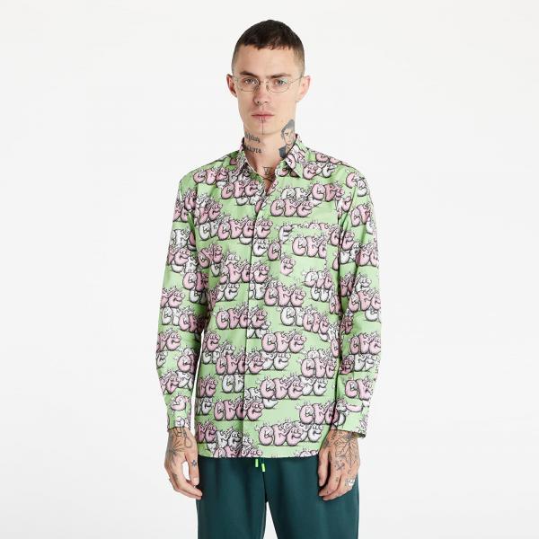 Comme des Garçons SHIRT x KAWS Mens Shirt Woven Green/ Pink