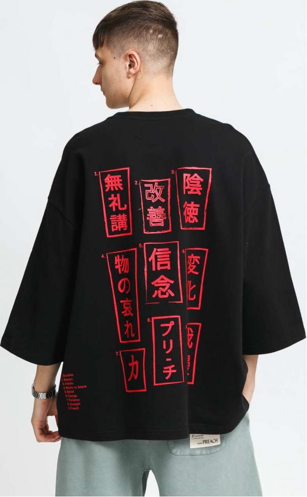 PREACH Kimono Japanese Wording Tee černé