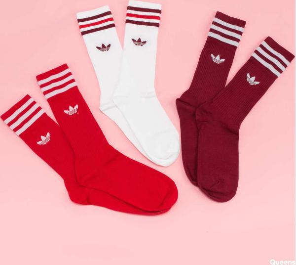 adidas Originals Solid Crew Socks 3 Pack bílé / červené / vínové
