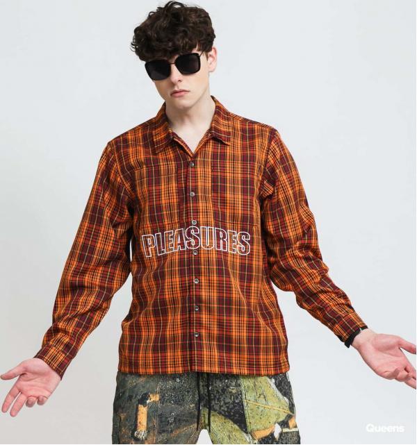 PLEASURES Shade Plaid Work Shirt oranžová / černá / vínová