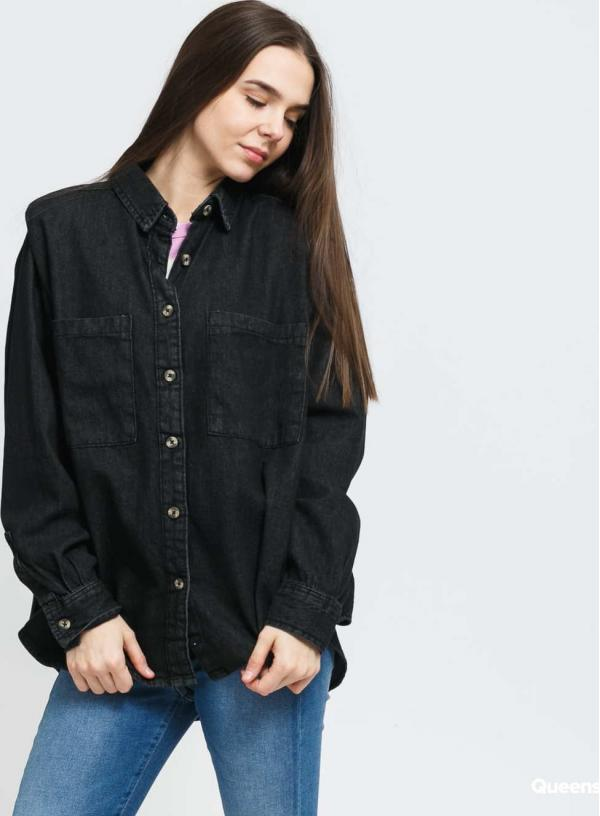 Urban Classics Ladies Denim Oversized Shirt black stone washed