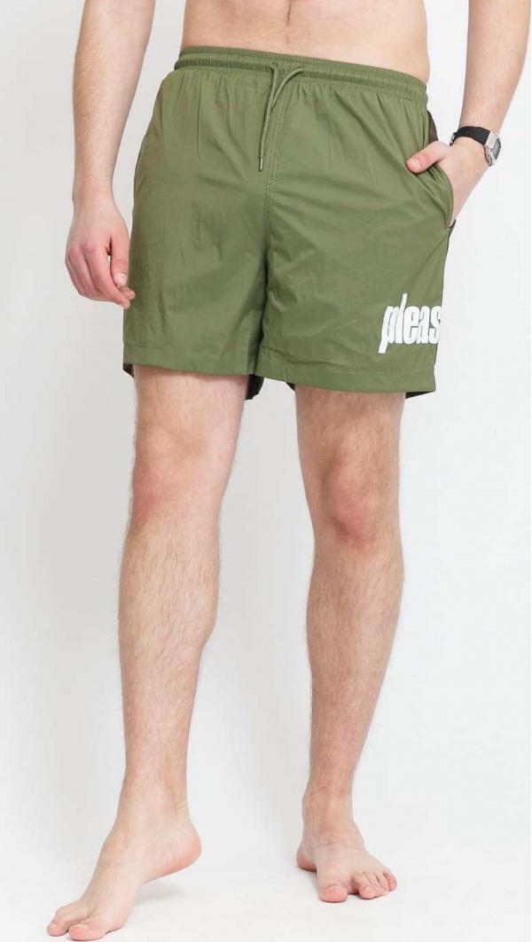 PLEASURES Electric Active Shorts olivové