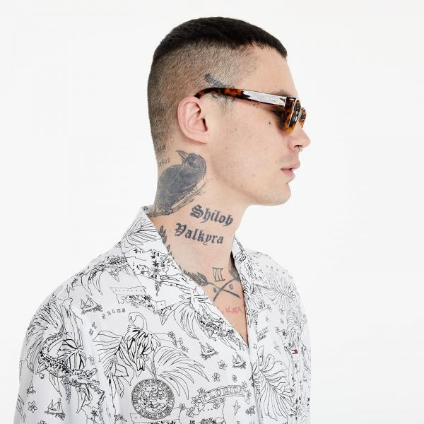 Tommy Jeans Miami Print Camp Shirt White