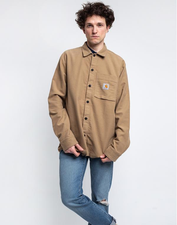 Carhartt WIP L/S Holston Shirt Leather rinsed S