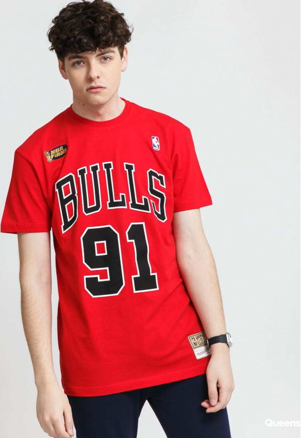 Mitchell & Ness Name & Number Tee - Rodman #91 Chicago Bulls červené