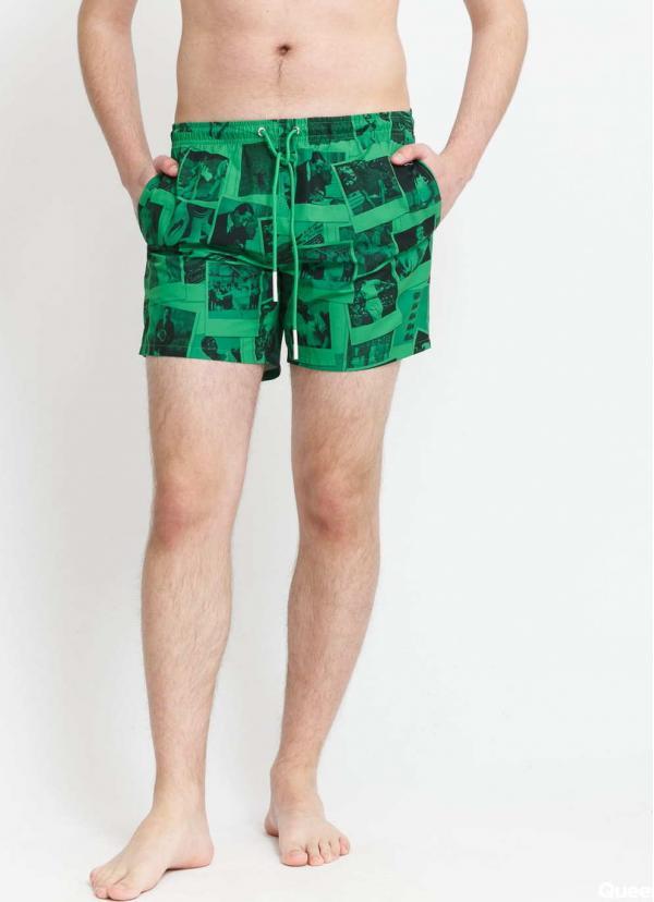 LACOSTE Lacoste LIVE x Polaroid Print Swimming Trunks zelené / černé