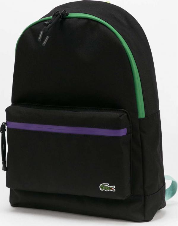 LACOSTE Neocroc Coloured Accents Canvas Backpack černý