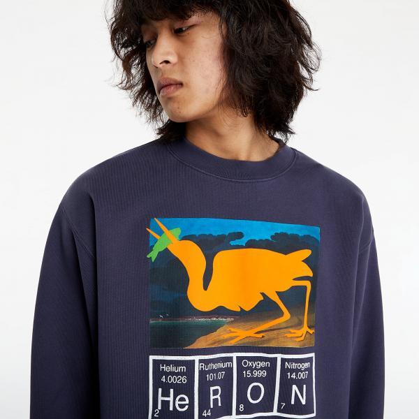 HERON PRESTON Heron Cutout Crewneck Anthracite/ Orange