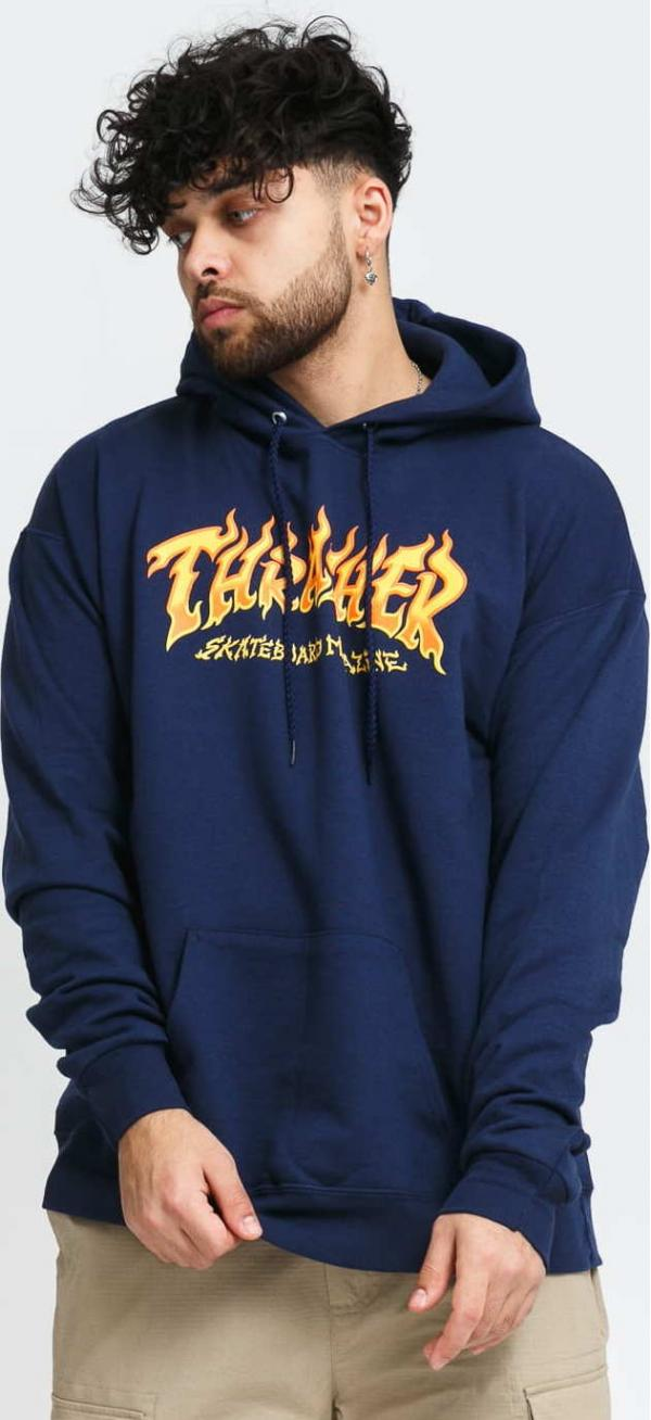 Thrasher Fire Logo Hoody navy