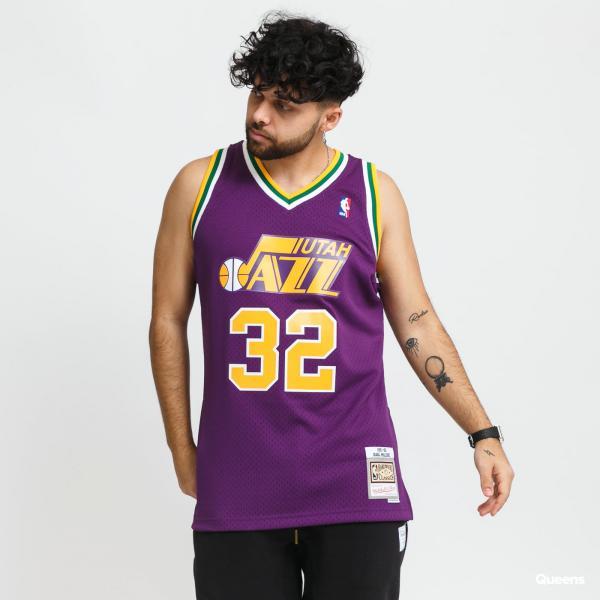"""Mitchell & Ness Swingman Jersey Utah Jazz Karl Malone """"32 fialový"""