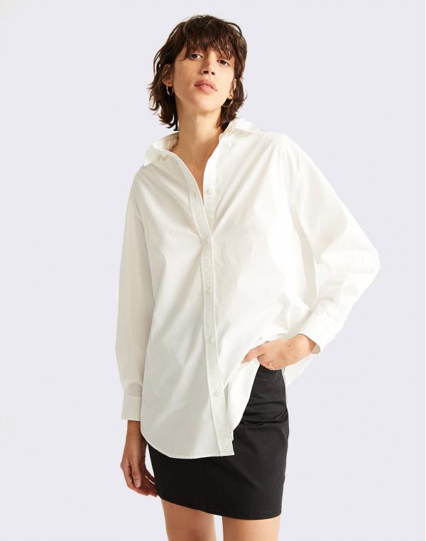 Thinking MU Gia White Shirt SNOW WHITE S