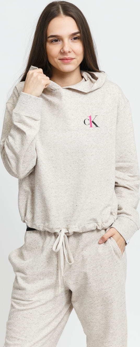 Calvin Klein CK ONE LS Hoodie melange světle béžová