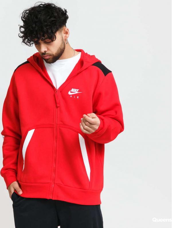 Nike M NSW Air FZ Fleece Hoody červená