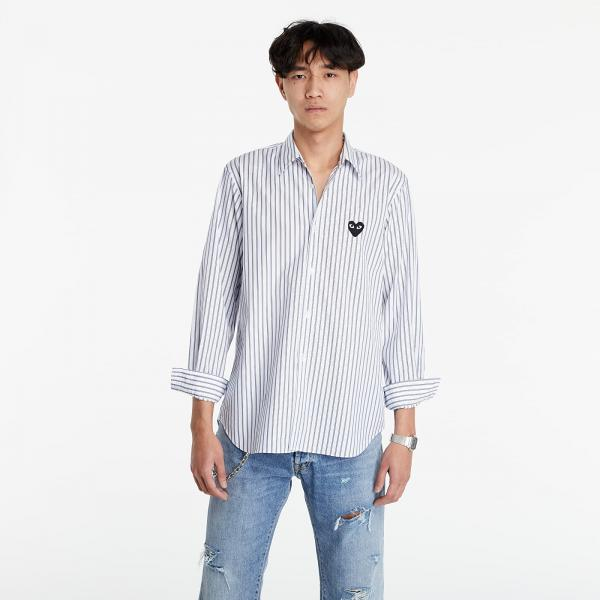 Comme des Garçons PLAY Black Heart Striped Shirt Light Blue/ White/ Black