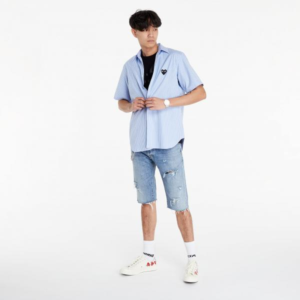 Comme des Garçons PLAY Black Heart Striped Shirt Blue/ White