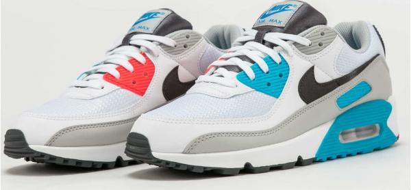 Nike Air Max 90 white / iron grey - chlorine blue