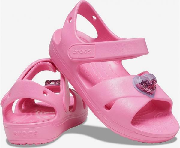 Classic Cross Strap Charm Sandal Pink Lemonade Sandále Crocs