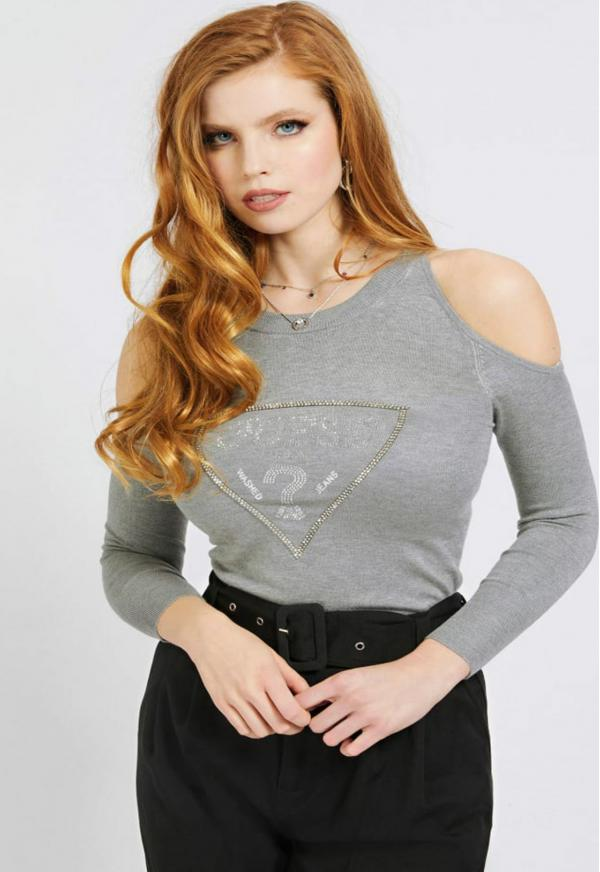 Cut-Out Sleeves Triangle Logo Svetr Guess