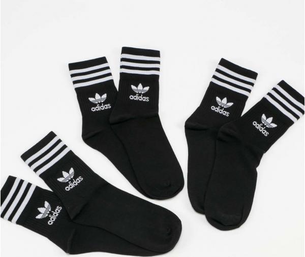adidas Originals Mid Cut Crew Sock 3Pack černé / bílé