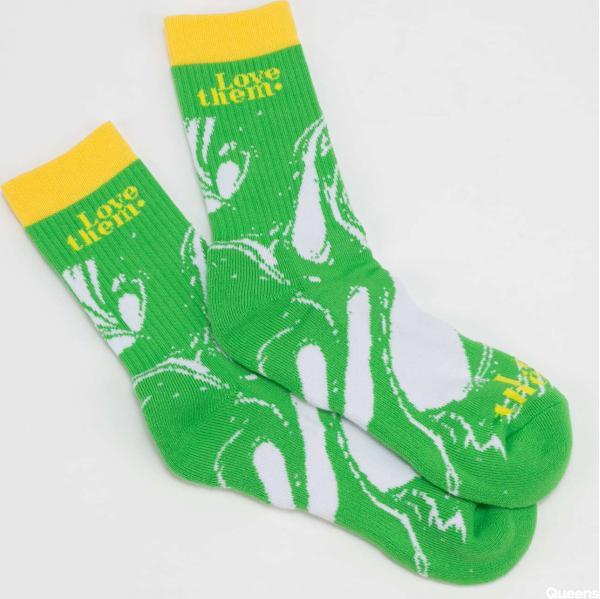 LOVE THEM Socks Oil Patern zelené / bílé