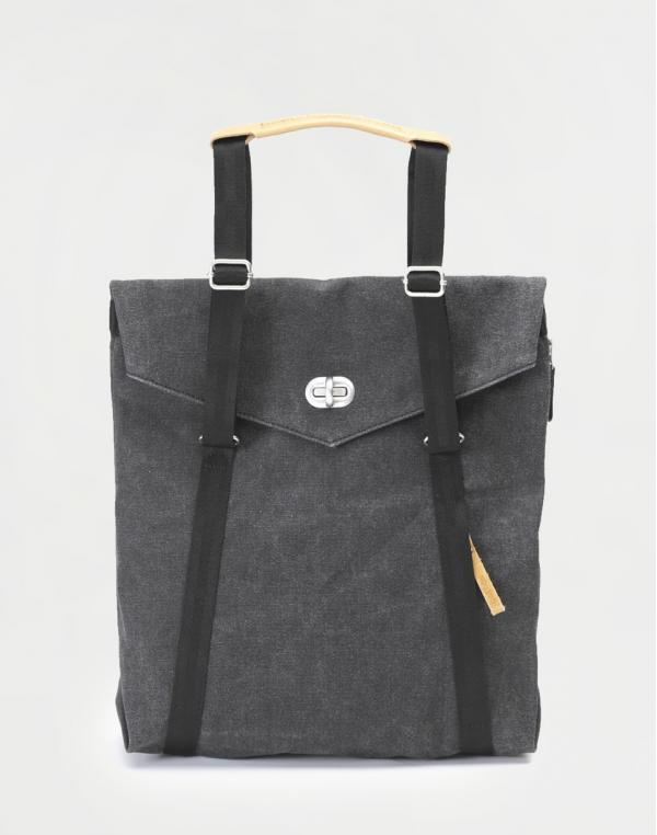 Qwstion Tote Organic Washed Black