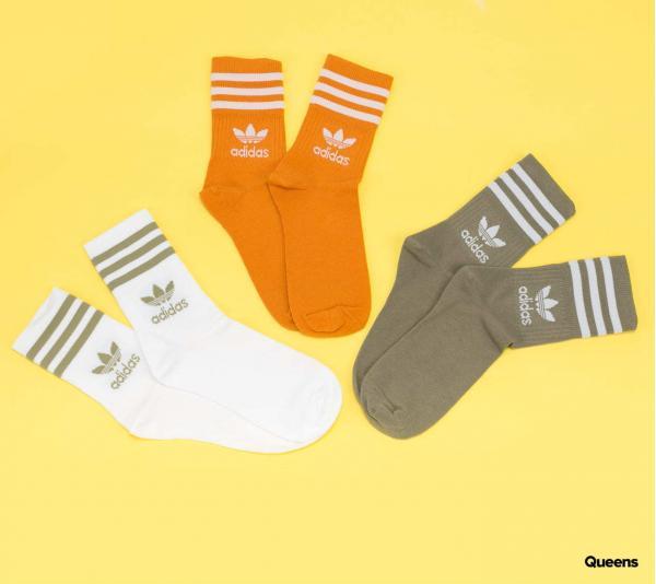 adidas Originals Mid Cut Crew Socks 3Pack bílé / oranžové / olivové