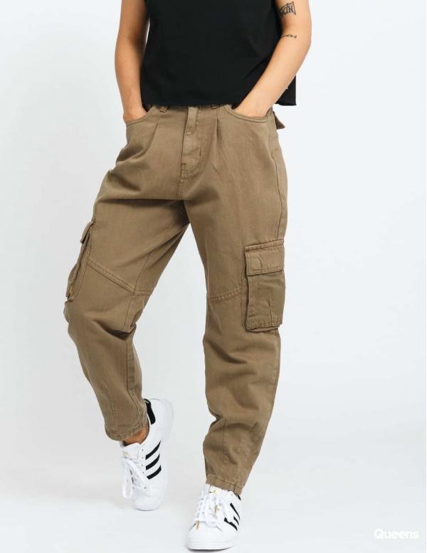 Urban Classics Ladies Ballon Fit Cargo Twill Pants olivové 30