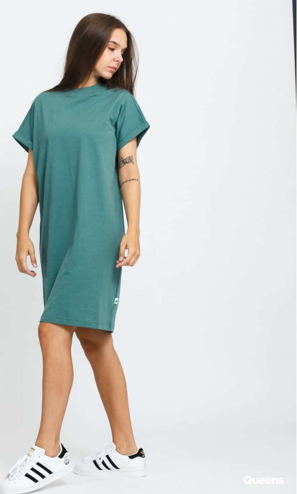 Urban Classics Ladies Organic Cotton Cut On Sleeve Tee Dress zelené