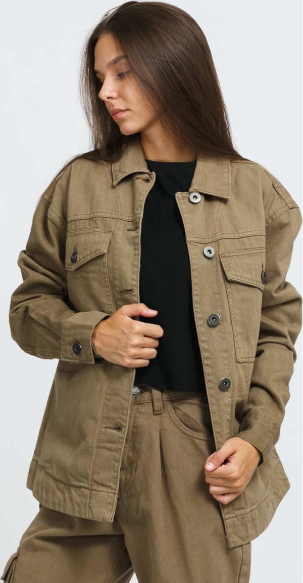 Urban Classics Ladies Oversized Shirt Jacket olivová