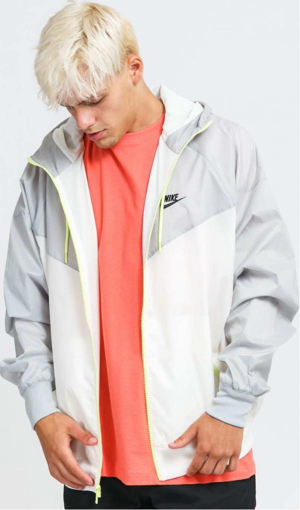 Nike M NSW SPE Woven LND Windrunner Hooded Jacket šedá / bílá