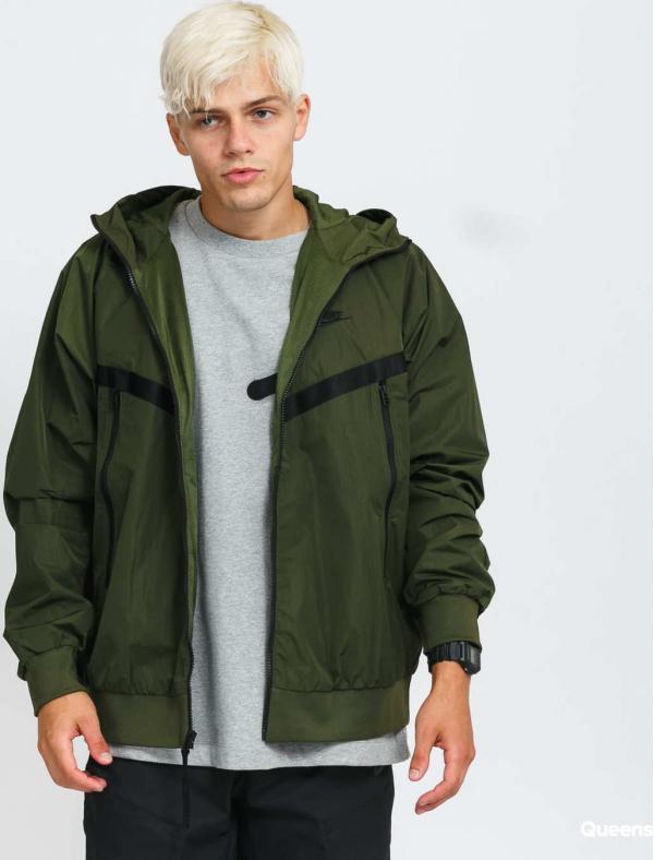 Nike M NSW Woven Windrunner Hooded Jacket tmavě olivová
