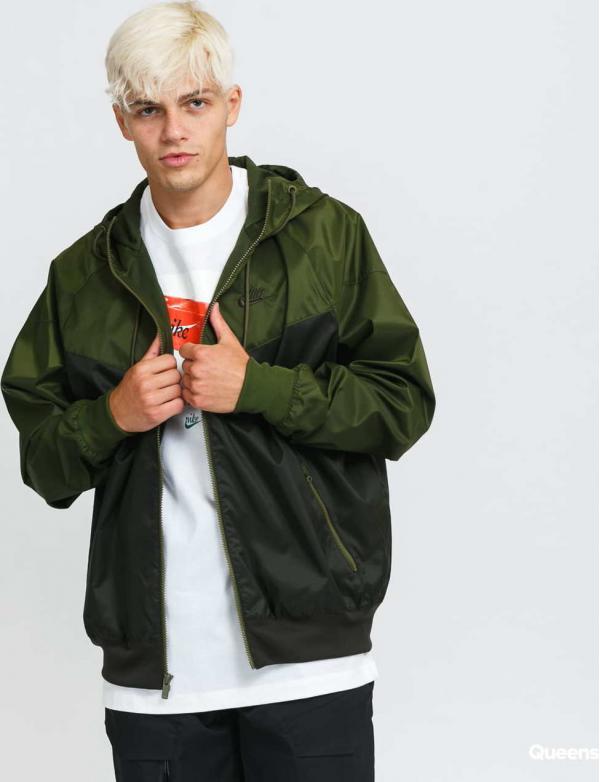 Nike M NSW SPE Woven LND Windrunner Hooded Jacket černá / olivová