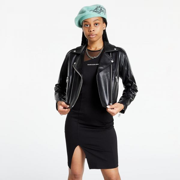 Calvin Klein Jeans Faux Leather Biker Jacket Ck Black