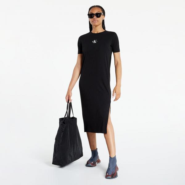 Calvin Klein Jeans Rib Maxi T-Shirt Dress Ck Black