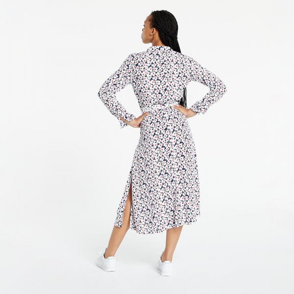 Tommy Jeans Printed Midi Shirt Dress Navy Camo Floral Print
