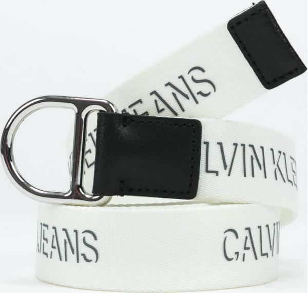 CALVIN KLEIN JEANS Slider D-Ring Belt bílý 100 cm