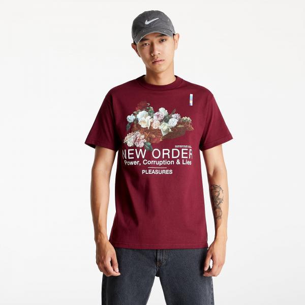 PLEASURES Power T-Shirt Burgundy
