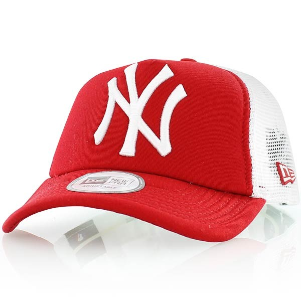 low cost top quality lowest price New Era Cap Clean Trucker New York Yankees Scarlet/ White ...
