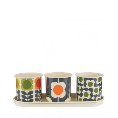 W & W 3 Herbs Pots with tray OK040