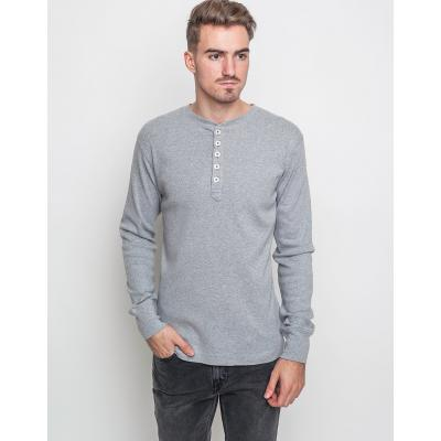 Knowledge Cotton Rib Henley 1012 Grey Melange XL