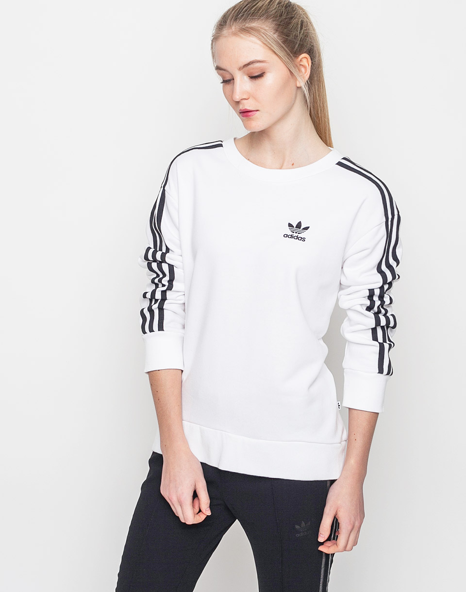 Mikina Adidas Originals 3 Stripes A-Line White