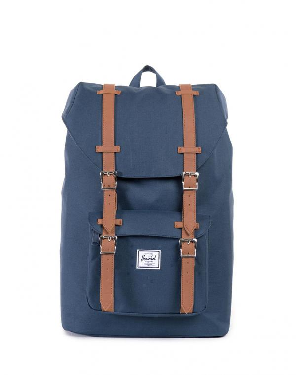 Herschel Supply Little America Mid-Volume Navy/Tan Synthetic Leather