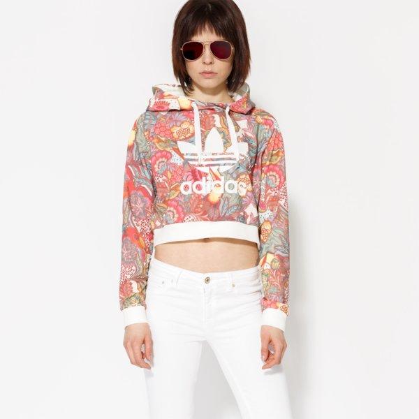 Adidas Mikina F Crop Hoodie ženy Oblečení Mikiny Bj8407  ddb843bf570