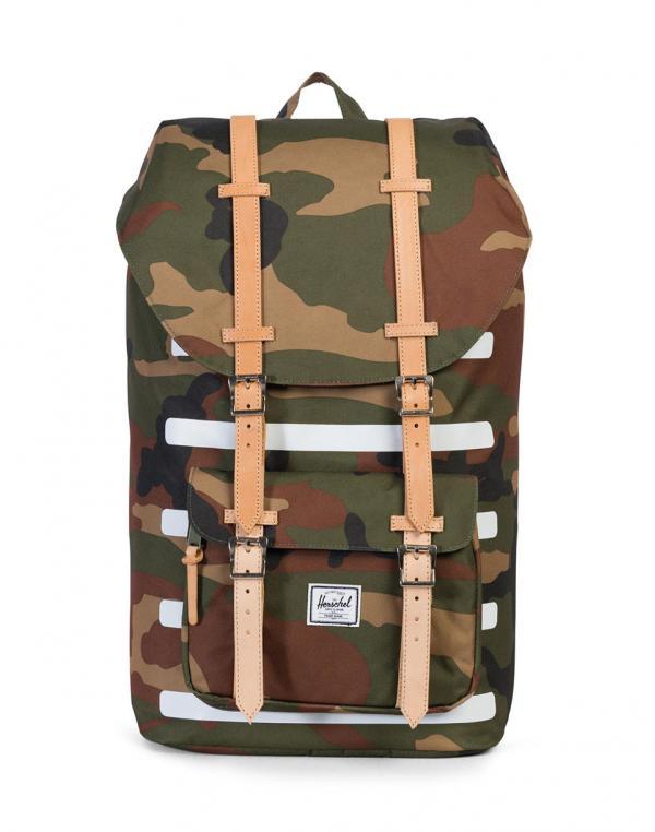Herschel Supply Little America Woodland Camo Stripe / Veggie Tan Leather